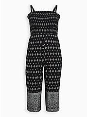 Super Soft Black Border Print Smocked Culotte Jumpsuit, BORDERS - BLACK, hi-res