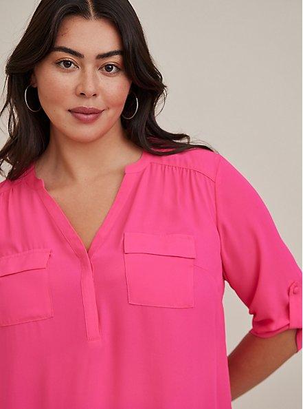 Harper - Neon Pink Georgette Pullover Blouse , PINK GLO, alternate