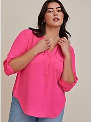 Harper - Neon Pink Georgette Pullover Blouse , PINK GLO, hi-res