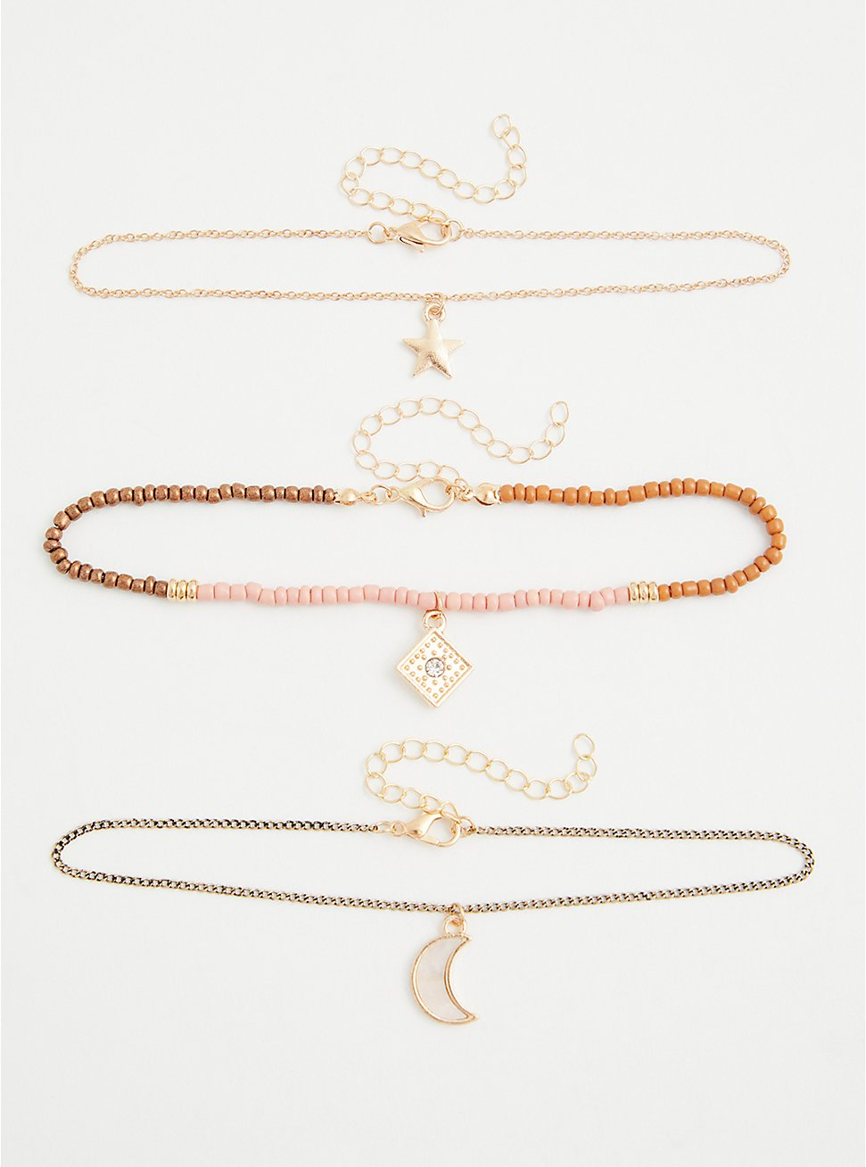 Gold-Tone Star & Moon Anklet, , hi-res