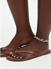 Gold-Tone Tassel & Snake Chain Anklet Set - Set of 3, , alternate
