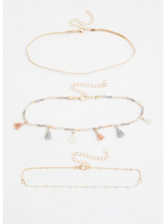 Gold-Tone Tassel & Snake Chain Anklet Set - Set of 3, , hi-res