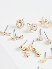 Plus Size Gold-Tone Celestial Earring Set - Set of 15, , alternate