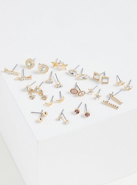 Plus Size Gold-Tone Celestial Earring Set - Set of 15, , hi-res