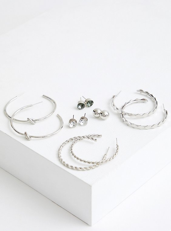 Plus Size Silver Tone Twisted Hoop & Studs - Set of 6, , hi-res