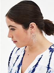 Silver-Tone Wire Floral Hoop Earrings, , alternate