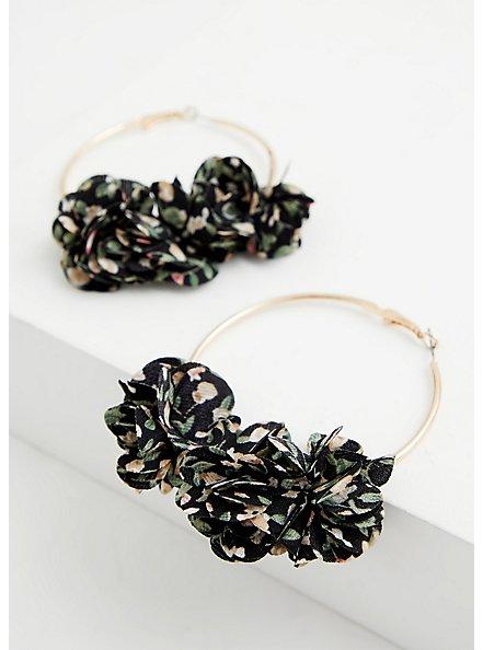 Black Floral Hoop Earring, , alternate