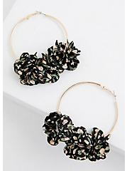 Black Floral Hoop Earring, , hi-res