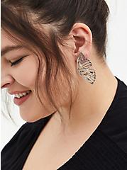 Plus Size Silver-Tone Butterfly Wing Statement Earrings, , alternate