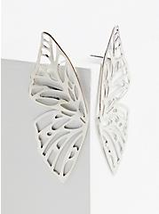 Plus Size Silver-Tone Butterfly Wing Statement Earrings, , hi-res