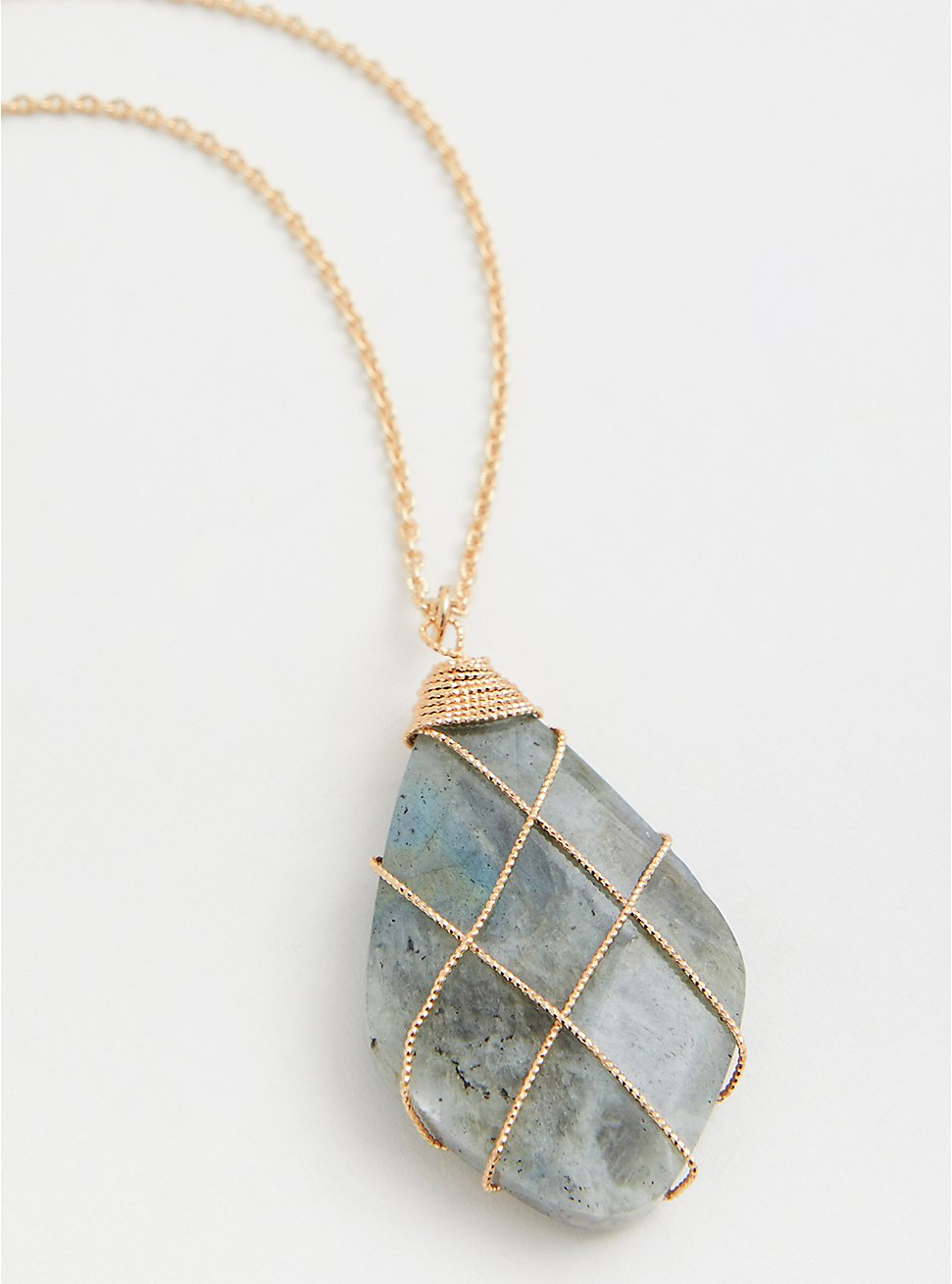Gold-Tone Wrapped Stone Pendant Necklace, , hi-res