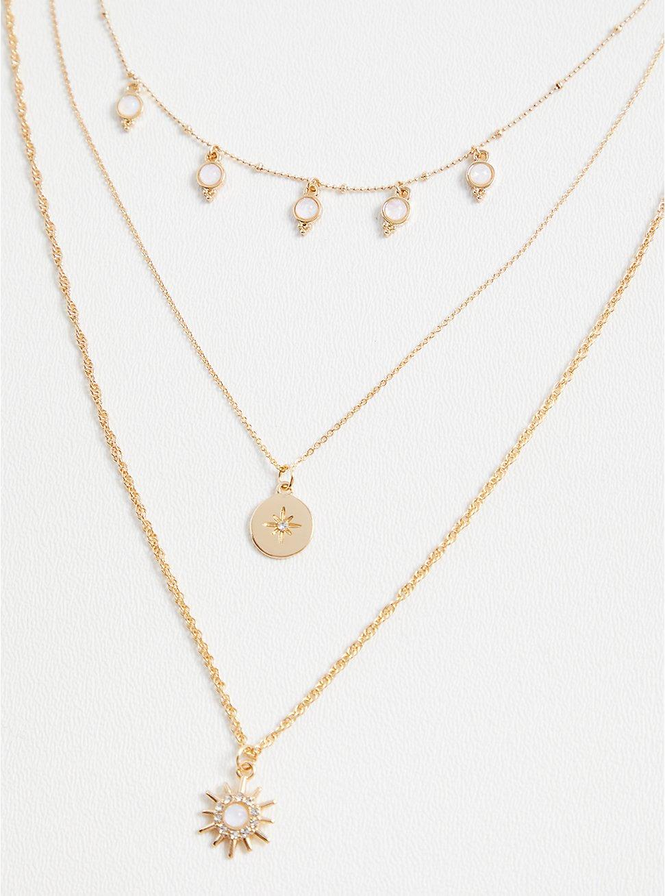 Gold-Tone Starburst Layered Necklace, , hi-res