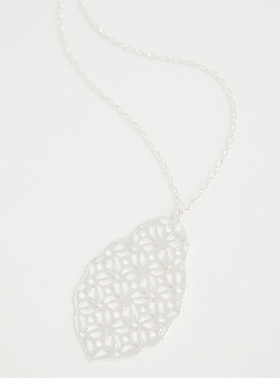 Silver-Tone Filigree Pendant Necklace, , hi-res