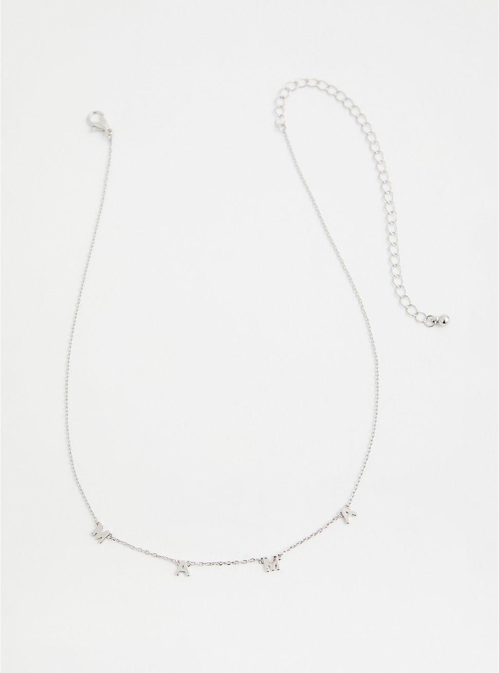 Silver-Tone Mama Delicate Necklace, , hi-res