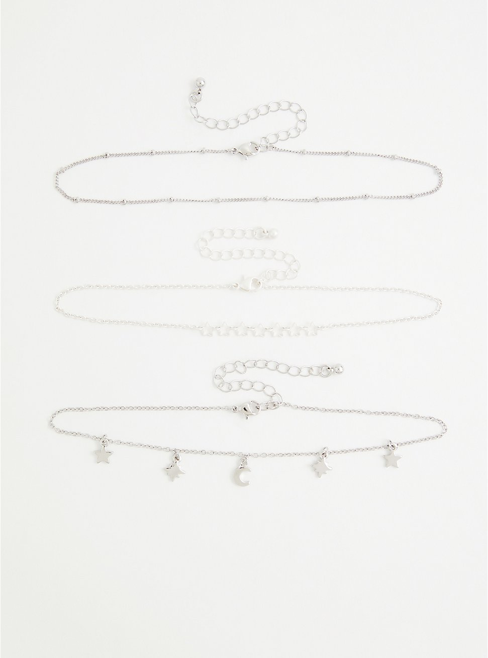 Plus Size Silver Tone Star & Moon Anklet , , hi-res