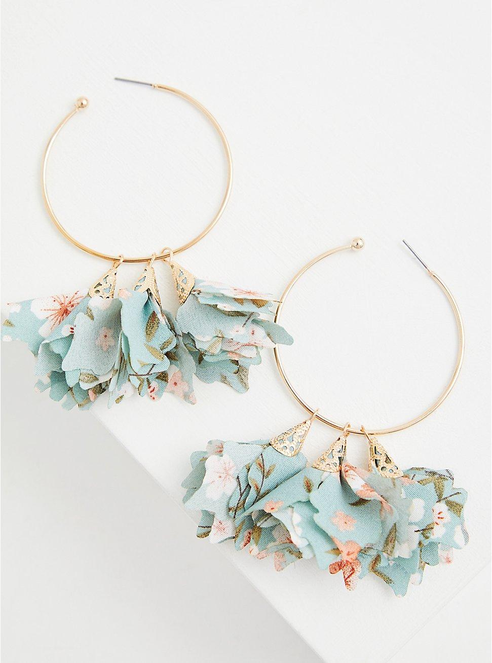 Plus Size Gold-Tone Teal Floral Hoop Earrings, , hi-res