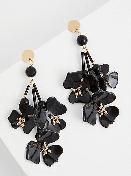 Black Resin Hanging Floral Earring , , alternate