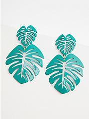 Green Double Palm Statement Earring, , alternate