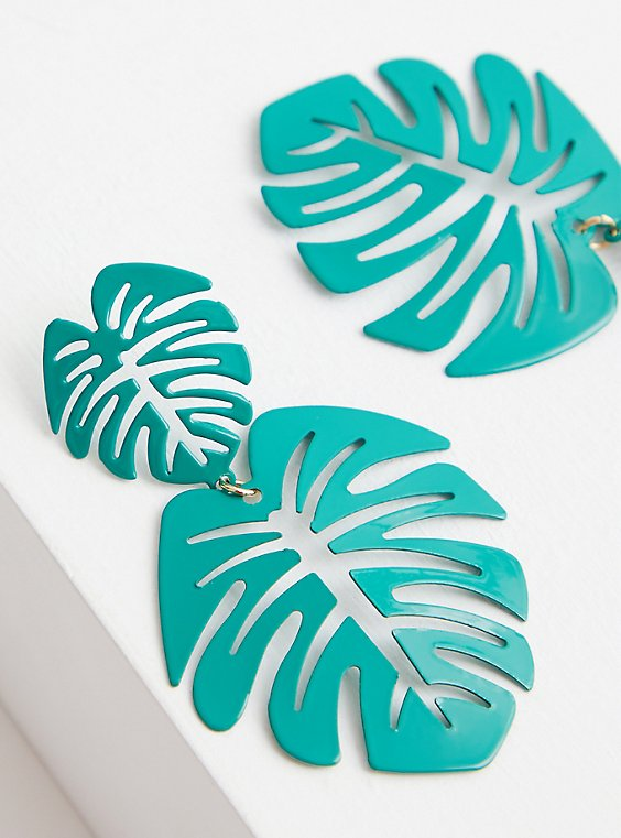 Green Double Palm Statement Earring, , hi-res