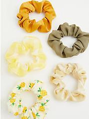 Yellow Gingham Multi Hair Tie Pack - Pack of 5, , alternate