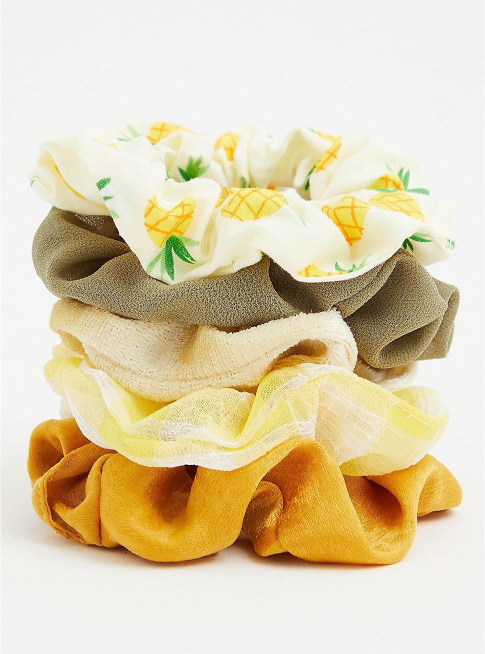 Yellow Gingham Multi Hair Tie Pack - Pack of 5, , hi-res