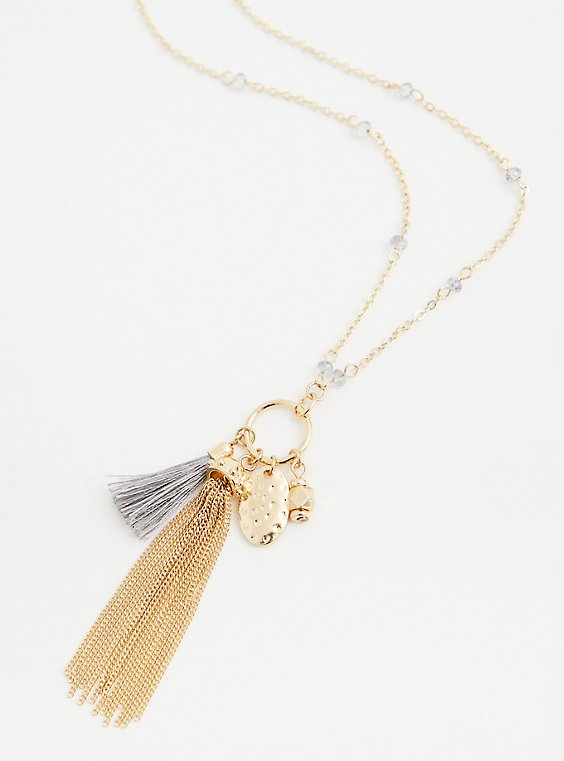Gold-Tone Charm Tassel Necklace, , hi-res