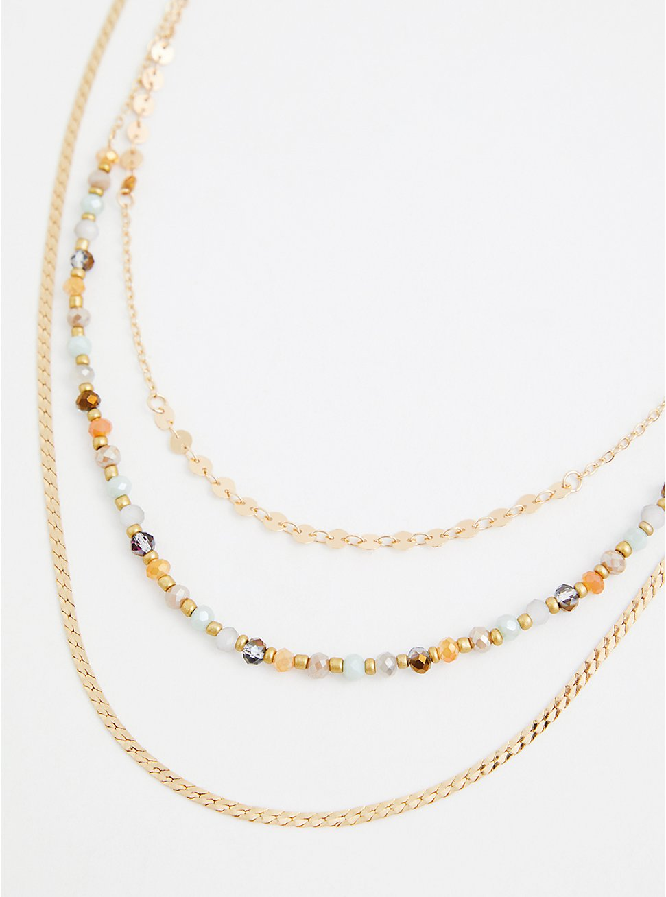 Gold-Tone Multi Bead 3-Layer Necklace, , hi-res