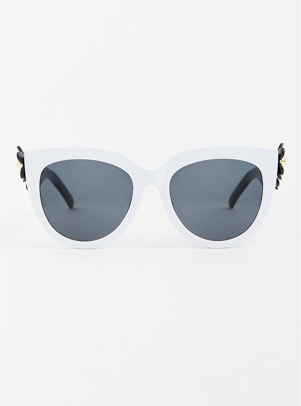 Black and White Floral Temple Sunglasses, , hi-res