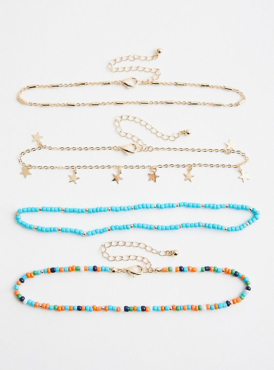 Gold-Tone & Turquoise Beaded Anklet, , hi-res