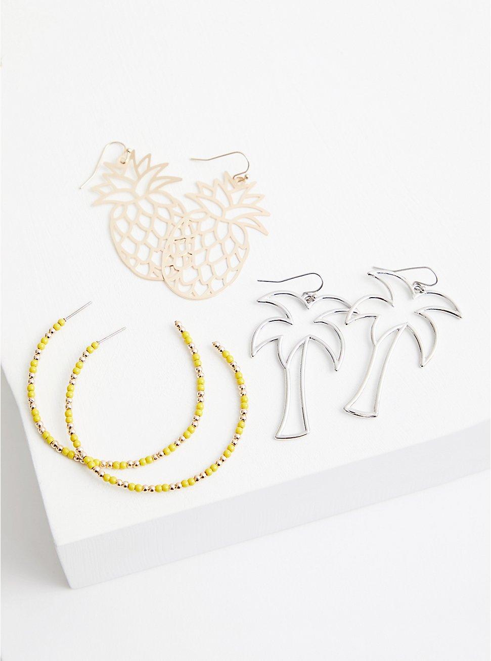 Palm & Pineapple Hoop Earring Set - Set of 3, , hi-res