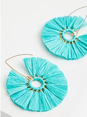 Turquoise Straw Hoop Earrings, , alternate