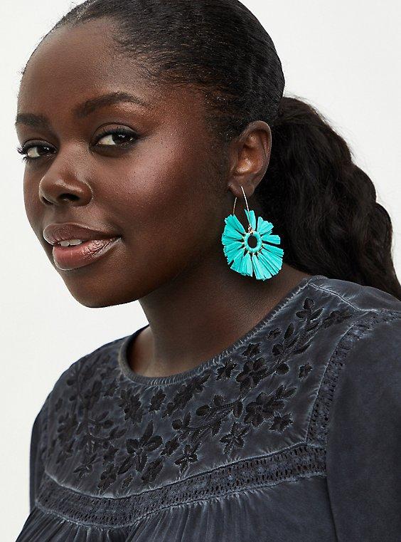 Turquoise Straw Hoop Earrings, , hi-res