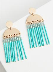 Silver-Tone and Turquoise Hanging Bead Earrings, , alternate