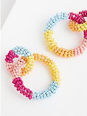 Multi Color Beaded Double Hoop Earring , , alternate