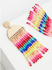 Gold-Tone & Colored Hanging Bead Earring, , alternate