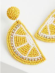 Plus Size Yellow Lemon Beaded Statement Earrings , , alternate