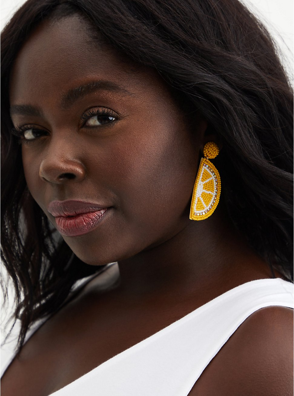 Plus Size Yellow Lemon Beaded Statement Earrings , , hi-res