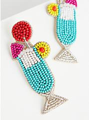 Multicolored Beaded Cocktail Statement Earring, , hi-res