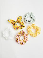 Yellow & Pink Floral Hair Tie Pack - Set of 5 , , alternate