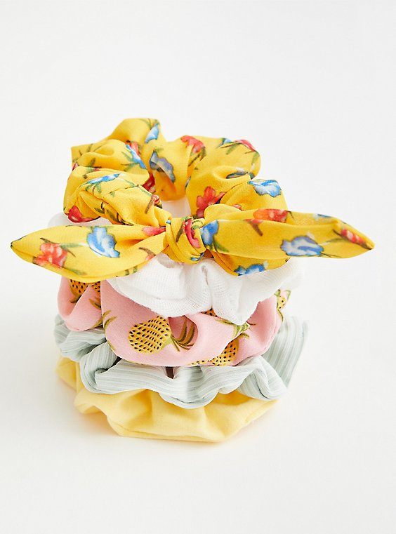 Yellow & Pink Floral Hair Tie Pack - Set of 5 , , hi-res