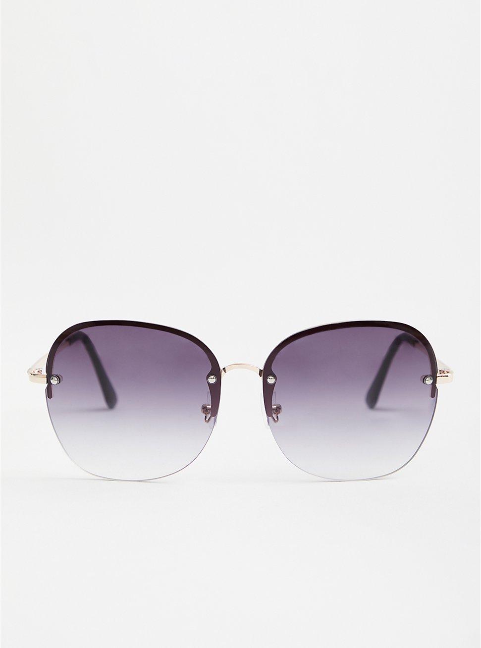 Rimless Smoke Oval Sunglasses , , hi-res