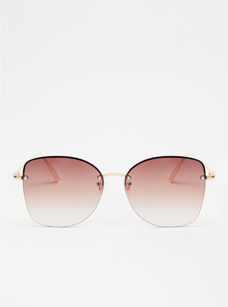 Brown Rimless Square Sunglasses, , hi-res