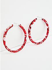 Red Bandana Wrapped Hoop, , alternate