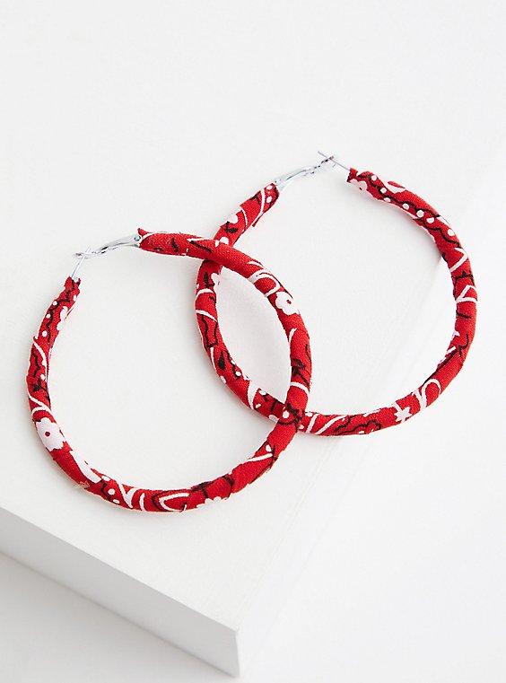 Red Bandana Wrapped Hoop, , hi-res