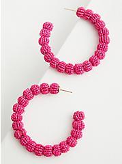 Plus Size Hot Pink Beaded Hoop Earring , , alternate