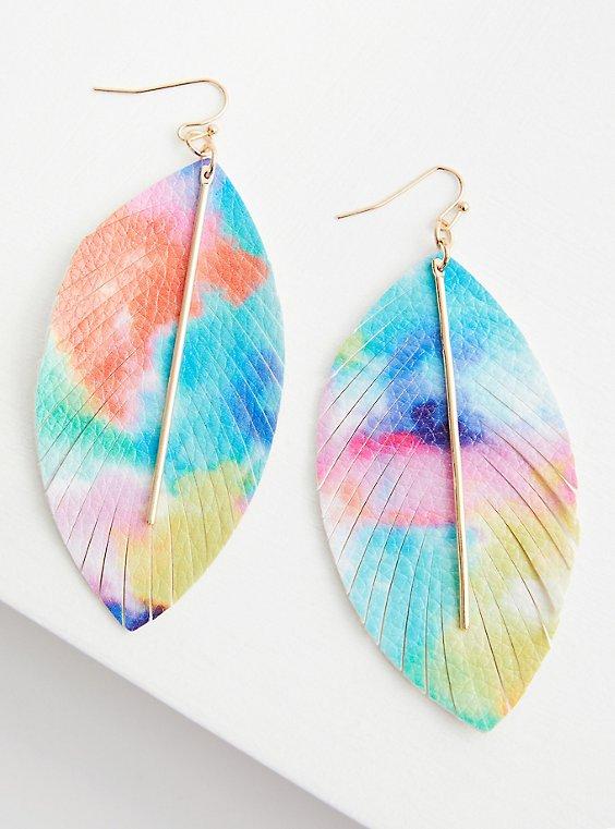 Tie Dye Leaf Earrings, , hi-res