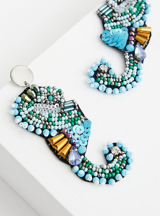 Turquoise Beaded Seahorse Statement Earring, , hi-res