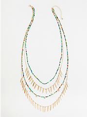 Plus Size Gold Tone Multi Layered Necklace, , alternate