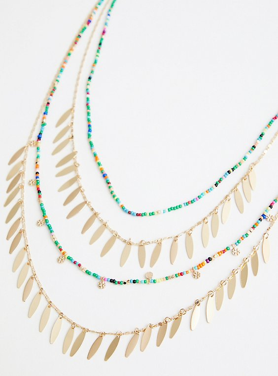 Plus Size Gold Tone Multi Layered Necklace, , hi-res