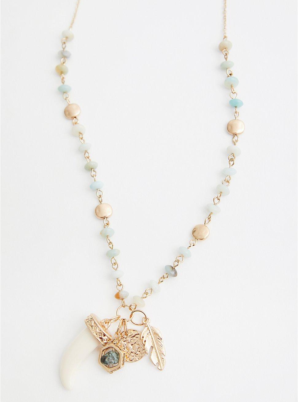 Plus Size Gold Tone & Mint Beaded Horn Pendant Necklace, , hi-res